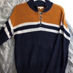 Knit quart zip stripe sweater from pacsun